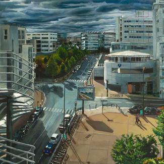 Looking South - 195x130cm - Marc GOLDSTAIN 2011 - Oil On Canvas - Rue Leblanc - Paris - Urban Landscape - Architecture - Hegp - Contemporary Painting