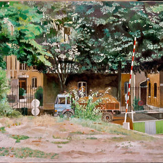 Wasteland With Truck - 97x130cm - Marc GOLDSTAIN 2003 - Oil On Canvas - Ministry Of Defense - Urban Landscape - Sidewalk - Paris Javel - Realistic Painting - Contemporary Painting