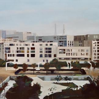 Black Garden Andre Citroen Park - 130x195cm - Marc GOLDSTAIN 2002 - Acrylic On Canvas - Eiffel Tower - Urban Landscape - Paris - Realistic Painting - Contemporary Painting