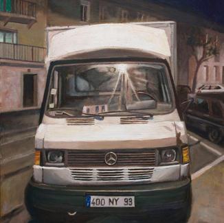 Truck - 92x73cm - Marc GOLDSTAIN 2010 - Oil On Canvas - Urban Landscape - Ivry Sur Seine - Lorry - Nightscape Contemporary Painting