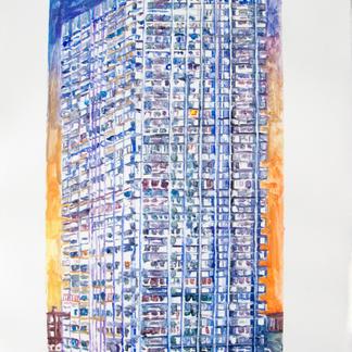 Urban Monad Monotype - 44x28,5cm - Marc GOLDSTAIN 2014 - Oil On Paper - Housing Building - Urban Landscape