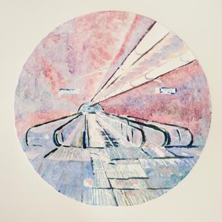 Violet Opera Ghost Monotype - Diam 25 - Marc GOLDSTAIN 2014 - Oil On Paper - Tube Corridor - Urban Landscape