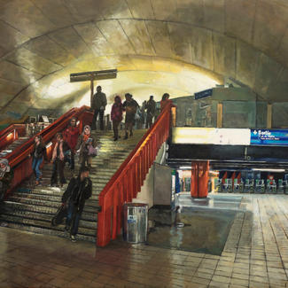 Dawn Under The Paris Opera - 97x162cm - Marc GOLDSTAIN 2014 - Oil On Canvas - Subway Station - Passanger - Red Staircase - Underground - Contemporary Painting