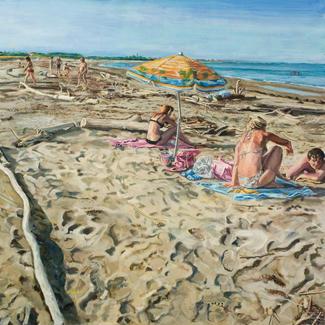 Parasol - 96x116cm - Marc GOLDSTAIN 2011 - Oil On Canvas - Seascape - Bathers - Venice Beach - Lido - Driftwood - Contemporary Painting