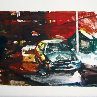 Boom Montreal Monotype - 28x44,5cm - Marc GOLDSTAIN 2014 - Oil On Paper - Car Crash - Urban Landscape
