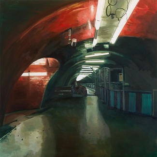 Red Ship Underground - 150x150cm - Marc GOLDSTAIN 2007 - Oil On Canvas - Auber - Urban Life - Paris Subway - Rer - Comtemporary Painting