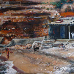 Family, Chez Dede - Marc GOLDSTAIN 2012 - Oil On Canvas - Seaside - Calanque - Marseille - Mediterranean Life - Contemporary Painting