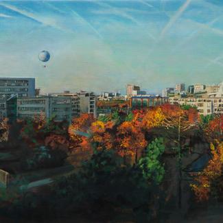 Air De Paris - 50x150cm - Marc GOLDSTAIN 2014 - Oil On Canvas - Architecture - Building - Eiffel Tower - Andre Citroen Garden - Urban Landscape - Contemporary Painting