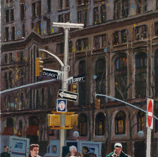 Church And Liberty With Flams And Dots New York - 30x90cm - Marc GOLDSTAIN 2007 - Oil On Canvas - Pedestrians Crossing - Urban Landscape - Architecture - Realistic Painting