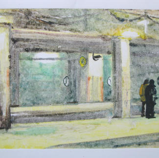 The Hour 3 Monotype - 15,5x20cm - Marc GOLDSTAIN 2014 - Oil On Paper - Train Station - Urban Landscape