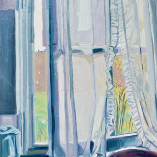 Blue Studio Opened Window - Marc GOLDSTAIN 1992 1993 - Oil On Wood - Artist Studio