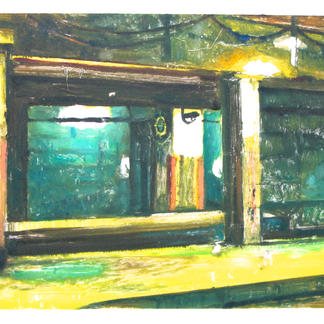 The Hour 2 Monotype - 15,5x20cm - Marc GOLDSTAIN 2014 - Oil On Paper - Train Station - Urban Landscape