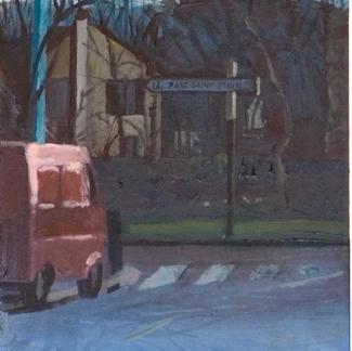 Red Truck Traffic Sign At St Maur - 24x15cm - Marc GOLDSTAIN 2004 - Acrylic On Panel - Garden - Pavilon - Urban Landscape - Paris Suburbs - Realistic Painting - Contemporary Art