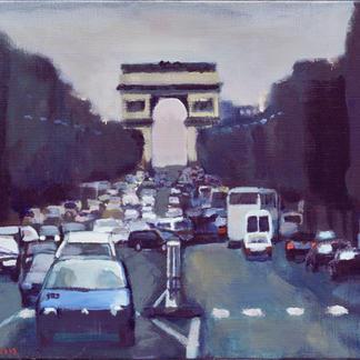 Arc De Triomphe - 30x40cm - Marc GOLDSTAIN 2002 - Oil On Canvas - Champs Elysee - Traffic Jam - Cars - Paris - Urban Landscape - Contemporary Art - Realistic Painting