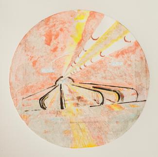 Red Opera Ghost 2 Monotype - Diam 25 - Marc GOLDSTAIN 2014 - Oil On Paper - Tube Corridor - Urban Landscape