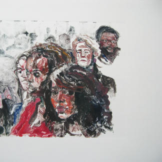 Teenagers 2 Monotype - 15,5x20cm - Marc GOLDSTAIN 2014 - Oil On Paper - Portraits