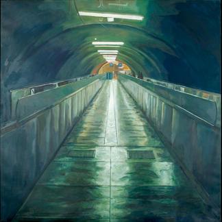 Sunset - 150x150cm - Marc GOLDSTAIN 2008 - Oil On Canvas - Auber - Urban Life - Paris Subway - Rer Corridor - Neon Lights - Comtemporary Painting