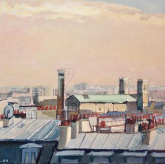 St Vinvent De Paul Church From Roofs Paris Anvers Chimneys Chambre De Bonne - Marc GOLDSTAIN 1999 - Oil On Canvas - Urban Landscape - Realistic Painting - Contemporary Art
