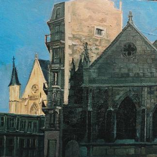 Art Et Metier - Marc GOLDSTAIN 1992 1993 - Oil On Wood - Paris - Urban Landscape
