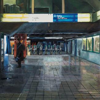 Lights Under Paris Opera - 100x100cm - Marc GOLDSTAIN 2014 - Oil On Canvas - Paris - Urban Landscape - Contemporary Painting - Subway Station