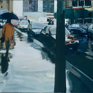 Passer By With Umbrella - 114x146cm - Marc GOLDSTAIN 2001 - Acrylic On Canvas - Paris - Sidewalk - Cars - Gare De Lyon Street - Realistic Painting - Contemporary Painting