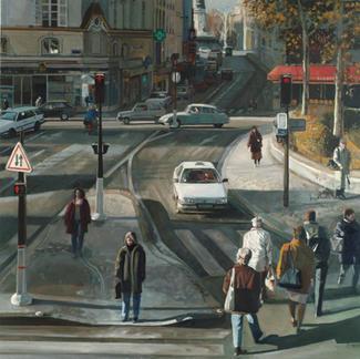 Grisette Crossroads - 150x150cm - Marc GOLDSTAIN 2006 - Oil On Canvas - Pedestrians Crossing - Paris - Republique - Balthus - Cars - Realistic Painting - Contemporary Art
