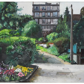 Apartment Building And Garden - 54x65cm - Marc GOLDSTAIN 2005
