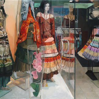 Petticoats In The Window - 97x130cm - Marc GOLDSTAIN 2005 - Oil On Canvas - Mannequins - Model - Clothes - Realistic Painting - Contemporary Art