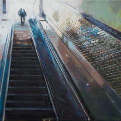 Exit The Passenger - 46x55cm - Marc GOLDSTAIN 2014 - Oil On Canvas - Escalator - Paris Underground - Metro Station - Contemporary Painting