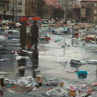 Graals Quest Open Air Market - 100x200cm - Marc GOLDSTAIN 2011 - Oil On Canvas - Vitry - Paris - Waste - Plastics Bags - Urban Landscape - Architecture - Chemetoff - Contemporary Paintingpie