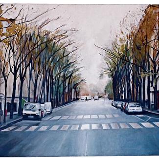 Bobillot Street - Marc GOLDSTAIN 1999 - Oil On Canvas - Paris - About 225X100Cm