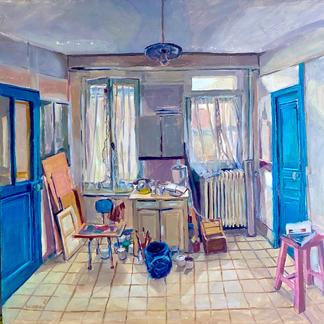 Blue Studio 1 - Marc GOLDSTAIN 1992 1993 - Oil On Isorel - Artist Studio