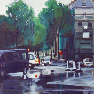 Place Voltaire - 146x97cm - Marc GOLDSTAIN 2001 - Acrylic On Canvas - Crossroad - Cars - Urban Landscape - Paris - Rainy Day - Realistic Painting - Contemporary Art