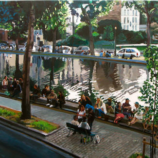Canal De L Ourq - 100x200cm - Marc GOLDSTAIN 2011 - Oil On Canvas - Paris - Urban Landscape - Promeneurs - Contemporary Painting.J