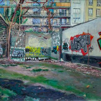 Low Tide Rock Paris - 50x140cm - Marc GOLDSTAIN 2013 - Oil On Canvas - Contemporary Painting - Urban Landscape - Realistic Painting - Graffiti - Wasteland