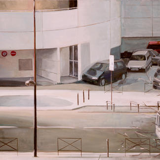 Down The Hospital - 65x81cm - Marc GOLDSTAIN 2003 - Oil On Canvas - Aphp Hegp - Urban Landscape - Sidewalk - Cars - Paris - Realistic Painting - Contemporary Painting
