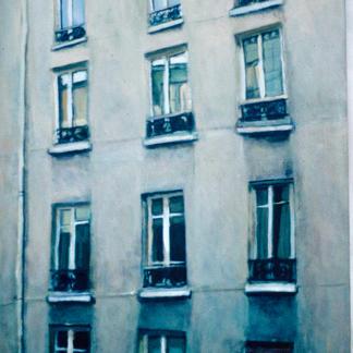 Facade With Twelve Windows 1 - Marc GOLDSTAIN 1997 - Oil On Canvas - Paris - Rue - Sedaine