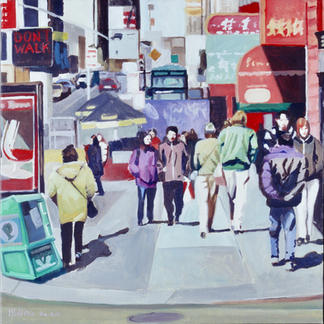 Small Chinatown - 80x80cm - Marc GOLDSTAIN 2002 - Oil On Canvas - New York - Manhattan - Urban Landscape - Street Life - Passers Bye - Realistic Painting - Contemporary Art