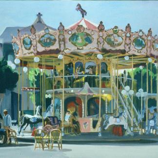 Carrousel - Marc GOLDSTAIN 2001 - Acrylic On Canvas - Jard Sur Mer - Period Merry - Go - Round - Urban Landscape - Paris - Figurative Painting - Contemporary Art