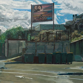 Save Our Souls - 73x100cm - Marc GOLDSTAIN 2007 - Oil On Canvas - Trash Can - Urban Landscape - Bulldozer - Billboard - Comtemporary Painting