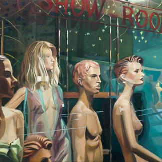 Show Room - 46x55cm - Marc GOLDSTAIN 2006 - Oil On Canvas - Dummy - Sentier Paris - Mannequin - Clothes - Comtemporary Painting - Fashion
