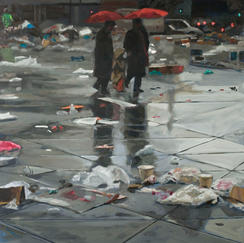 Three Shadows - 73x60cm - Marc GOLDSTAIN 2010 2011 - Oil On Canvas - Graals - Vitry - Market - Waste - Red Umbrella - Contemporary Painting