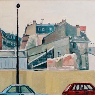 Denfert Rochereau - Marc GOLDSTAIN 1992 1993 - Oil On Wood - Paris - Urban Landscape