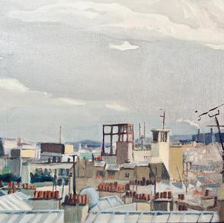 Roofs Chimneys Tv Antenna - Marc GOLDSTAIN 1999 - Oil On Canvas - Paris Anvers - Chambre De Bonne - Urban Landscape - Realistic Painting - Contemporary Art