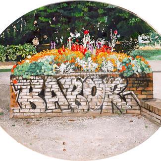 Babor - Marc GOLDSTAIN 2003 - Oil On Canvas - Urban Landscape - Public Garden - Paris Javel - Realistic Painting - Contemporary Painting