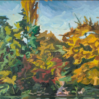 Edges Of The Marne - Marc GOLDSTAIN 1992 1993 - Oil On Wood - Autumn Trees