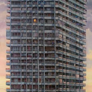Urban Monade - 300x172cm - Marc GOLDSTAIN 2011 - Oil On Canvas - Paris - Parabol - Big Housing Tower - Urban Landscape - Architecture - Contemporary Painting.J
