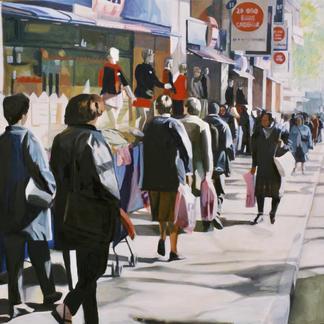 Passer By Front Of Tati Shop - Marc GOLDSTAIN 1999 - Oil On Canvas - Paris Rochechouard - 130X162Cm