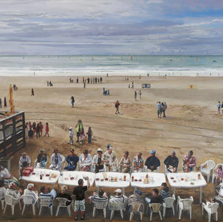 Last Supper Et The Sables - 190x240cm - Marc GOLDSTAIN 2009 - Oil On Canvas - Seaside - Friendliness - Meal - Contemporary Painting - Picnic - Realistic Painting