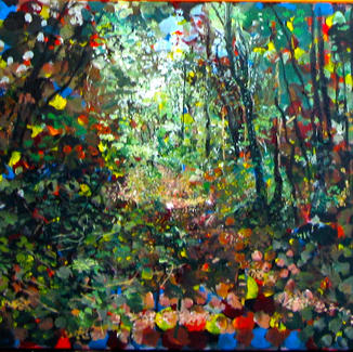 Triptych Pop Impressionist - 46x165cm - Marc GOLDSTAIN 2014 - Oil On Canvas - Forest Path - Primary Colors